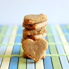 Apple, peanut butter & rice dog treats - healthy!  (Wheat-free, gluten-free)  These can be made with the pulp from juicing apples, carrots, or other fruits and veggies, for lots of good nutrients for your pet, and no waste!