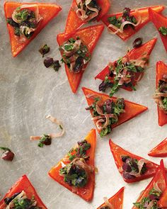 Red Pepper Triangles with Italian Relish, Wholeliving.com #superbowl