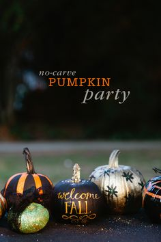 No carve Pumpkin Party No Carve Pumpkin Decorating Party at the park. Perfect for kids too! #halloween    #Halloween #HalloweenIdeas