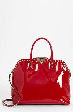Valentino 'Rockstud' Patent Leather Dome Handbag