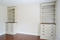 Step by step instructions on how to make built in bookcase/dressers using IKEA Fjell dressers and built-from-scratch bookshelves