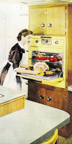 Cooking dinner. #vintage #homemaker #1950s #kitchen