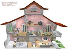 3D cutaway illustration of attached house with three floors