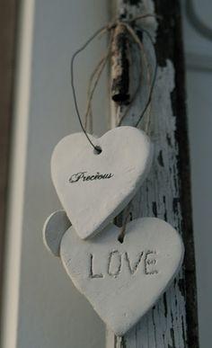 Plaster of Paris / cement hearts