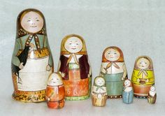 wooden dolls, russia, toy, matryoshka doll, traditional dresses