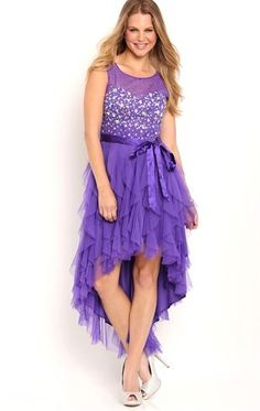 Deb Shops #homecoming illusion tank stone bodice dress with tie waist high low tendril skirt $95.00