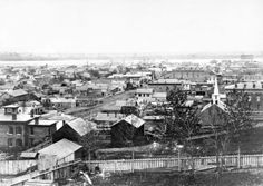 This view of Omaha, looking northeast from 17th and Farnam Streets, shows what the city looked like in 1866. THE WORLD-HERALD
