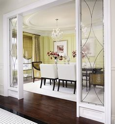 I love the doors framing the room and the ceiling
