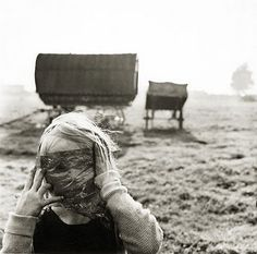 child in a cellophante mask ... Cherry Orchard Traveller's Camp, Ireland. Photo from Alen MacWeeney's book 'Tinkers No More'