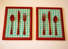 Grab a few frames, cutlery, paint, and wrapping paper from Dollar Tree and you can recreate this adorable art--perfect for your kitchen or dining room.