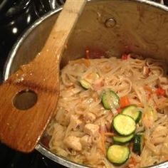 """One Pot Thai-Style Rice Noodles   """"Chicken, vegetables, and noodles prepared in a light tasting but full-flavored Asian-inspired sauce."""""""