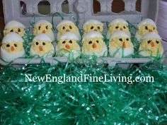How to make deviled egg chicks.