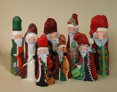 knee santa, handmad christma, christma idea, cypress knee, paint wood