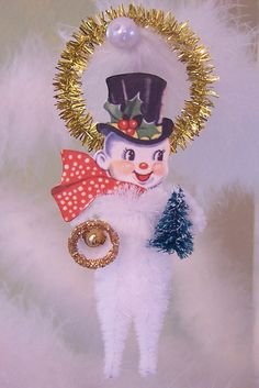 Mr. Snowman Vintage Style Chenille Ornament Feather Tree