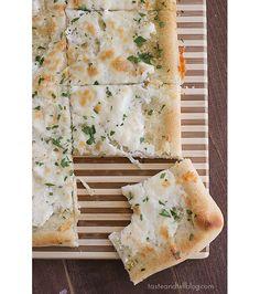 Garlic Rosemary Three Cheese Pizza- garlic, rosemary, oil, pizza crust, ricotta cheese, mozzarella cheese, parmesan cheese, parsley