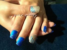 Blue n Gold nails by @ mariestory