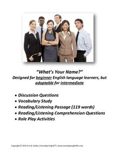 This lesson is appropriate for adult English language learners at the beginner level, but can be adapted for intermediate learners. It has a discussion phase, vocabulary study phase, a reading/listening passage followed by reading/listening comprehension questions, and finally some additional conversation and role-play activities. I have used it in individual and large group settings, and found it to be a very flexible and useful resource.