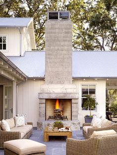 outdoor fireplace + sitting area