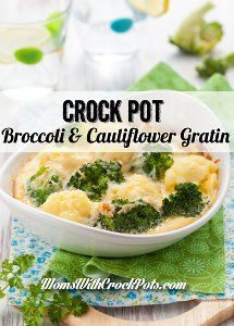 This recipe for Slow Cooker Broccoli and Cauliflower Gratin is the perfect thing to make for a light lunch or for a dinner side dish recipe. Packed with broccoli, cauliflower and cheese, this recipe will become a new family favorite.