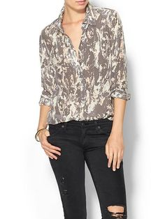 Piperlime Collection camo silk blouse - love the subtle colors
