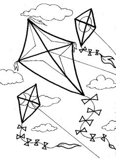 Kites in the wind to color!
