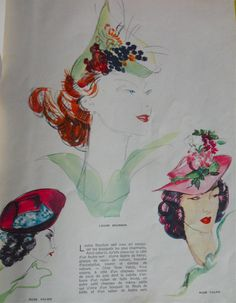 1938 page with fashion illustration