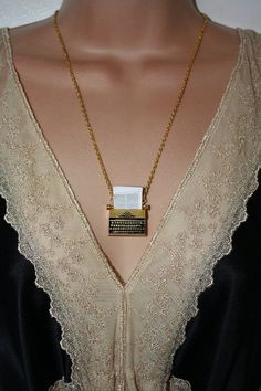 The Writer  Gold Plated Typewriter Necklace by PenelopesPorch