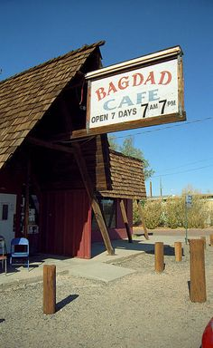 Route 66. The Bagdad Cafe of Newberry Springs, California, found In the middle of the Mojave Desert on Rt. 66. They shot the movie here, in 1988.