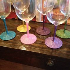 My glittered wine glasses - Mod podge, glitter, and mod podge sealant