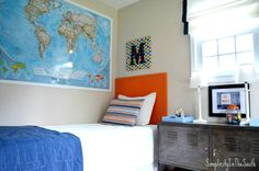 boys room, laminated world map. Boys shared bedroom by Simplicity In The South.