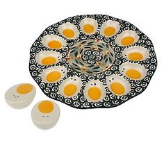 "Temp-tations Old World 10"" Egg Platter with Spice Shakers QVC. $21.99"