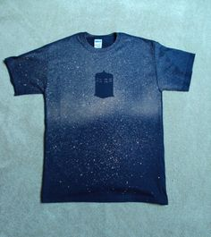 DIY Doctor Who themed T-Shirt. stencil. navy shirt. spray bottle of bleach. doing this