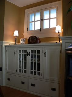 Craftsman kitchen buffet drawers