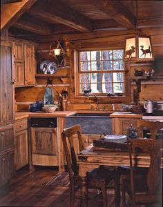 Rustic kitchen for a small cabin.  Love the wood.