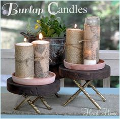 Easy burlap candles