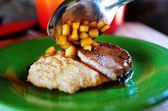 Apple glazed pork chops with creamy bacon grits. Wonderful!
