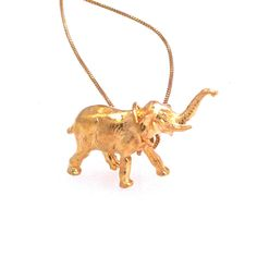 Elephant Necklace Gold Plate