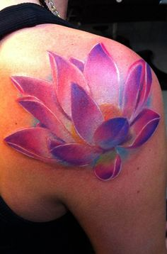 cool 3D lotus flower tattoo. like that there isn't black outlining makes it look that much cooler!