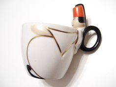 Art Deco Robj Man Wearing Fez Porcelain China Cup Signed Robj Paris France