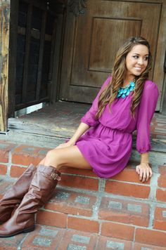 Sleeve Dress: Berry, turquoise, brown boots