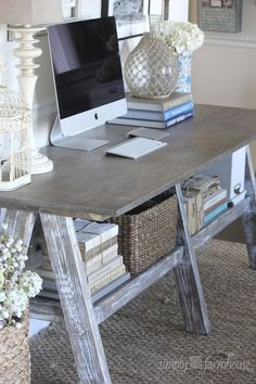 Inspiration ONLY - Could easily build this desk for the sewing room... love the whitewashed rustic wood....