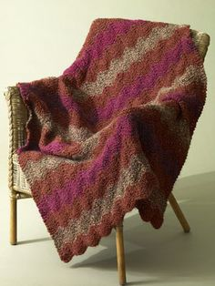 Free Knitting Pattern: Catch the Wave Afghan from Lion Brand.  Skill Level: Easy