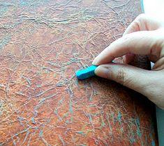 mixed media crumpled tissue technique