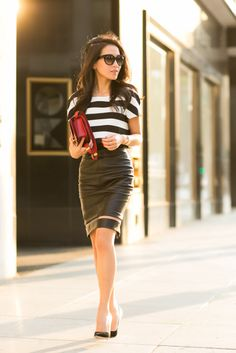 Cropped Story :: Flare striped top & Leather fishline skirt