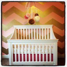 Gold and pink chevron baby girl nursery