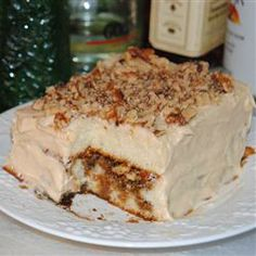 """Irish Car Bomb Cake - http://allrecipes.com/recipe/irish-car-bomb-cake/detail.aspx .. recipe includes:  3/4 cup Irish whiskey & and 1 (15 ounce) can dark Irish stout beer (such as Guinness®) and 1/4 cup Irish cream liqueur (such as Baileys®) """"This delicious and moist cake mimics the famous drop-a-shot-into-a-pint flavors: Guinness®, Baileys®, and Jameson®. The whiskey is the dominant flavor."""