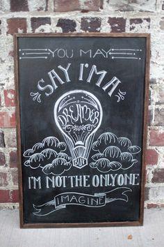 John Lennon -- Imagine -- Framed Chalkboard Art