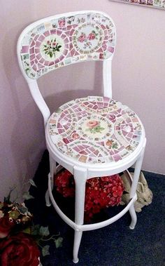 Cute Shabby Mosaic Metal Chair  by hillspeak, via Flickr