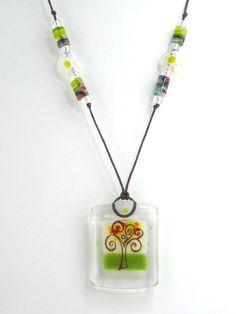 Fused Glass Jewelry / Fused Glass Necklace / Fused Glass Pendant - Love Tree. $35.00, via Etsy.