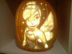 How To Carve Tinkerbell In A Pumpkin Of Pumpkins On Pinterest Pumpkin Carvings Hello Kitty And